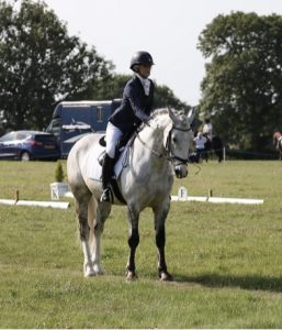 Sophie at the end of her dressage test